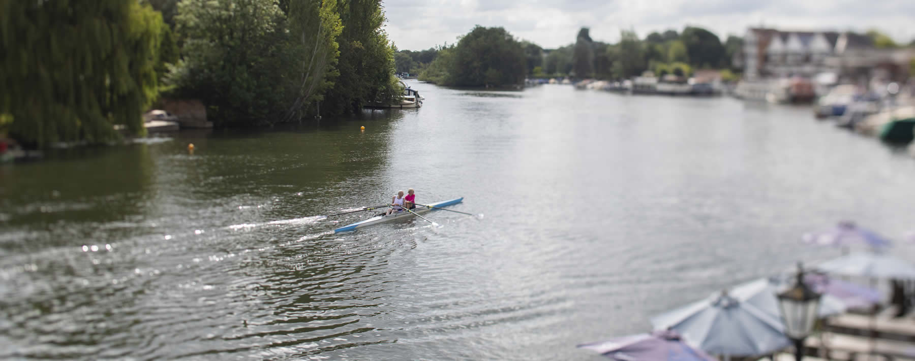 Two guys rowing in henley on thames river